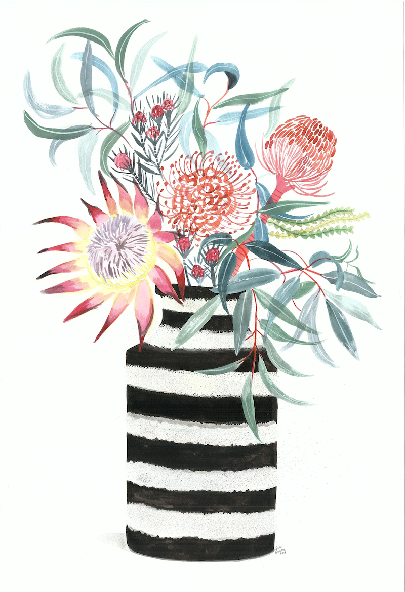 (CreativeWork) The Flower Thief by Sally Browne. watercolour. Shop online at Bluethumb.
