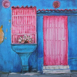 (CreativeWork) THE MINI SERIES FOUR - MY COLORFUL LITTLE HOUSE - PINK by Lily Iris. arcylic-painting. Shop online at Bluethumb.