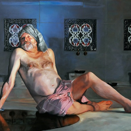 (CreativeWork) Bille Brown in a Turkish Bath by Mertim Gokalp. Oil Paint. Shop online at Bluethumb.