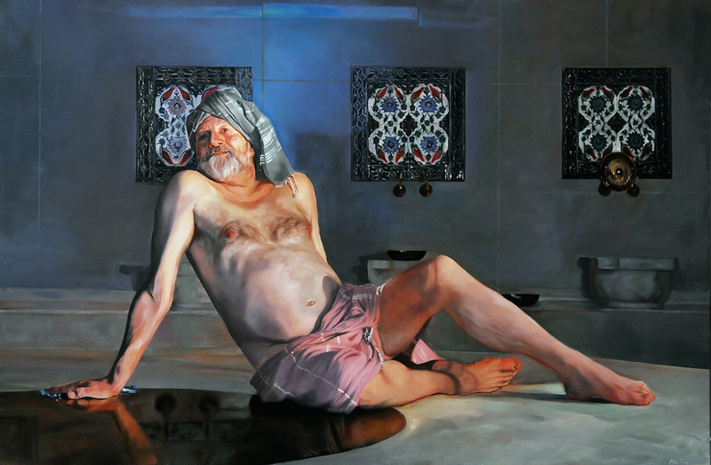 (CreativeWork) Bille Brown in a Turkish Bath by Mertim Gokalp. oil-painting. Shop online at Bluethumb.