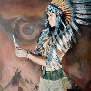 (CreativeWork) Lost feathers by Mertim Gokalp. oil-painting. Shop online at Bluethumb.
