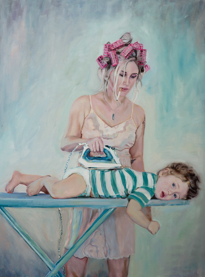 (CreativeWork) mama keeps me warm  by Mertim Gokalp. oil-painting. Shop online at Bluethumb.