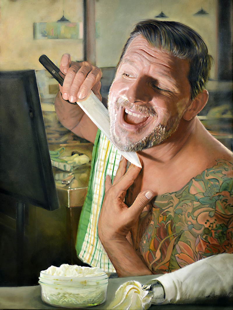 (CreativeWork) Getting ready for dinner ( Portrait of Manu Feildel ) by Mertim Gokalp. #<Filter:0x00007f5997b4c858>. Shop online at Bluethumb.