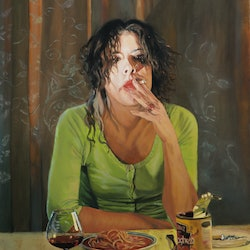 (CreativeWork) spaghetti & wine by Mertim Gokalp. Oil Paint. Shop online at Bluethumb.
