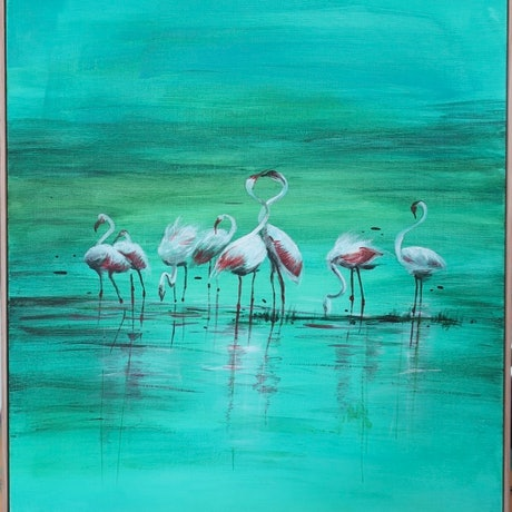 (CreativeWork) DAWN - FLAMINGO by Lily Iris. Acrylic Paint. Shop online at Bluethumb.