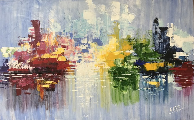 (CreativeWork) Red Hook Terminal by Tom Roso. Acrylic Paint. Shop online at Bluethumb.