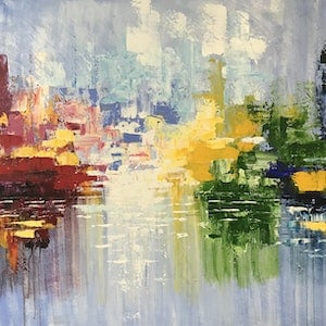 (CreativeWork) Red Hook Terminal by Tom Roso. arcylic-painting. Shop online at Bluethumb.