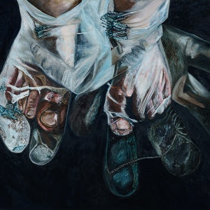 (CreativeWork) Creeping up the stairs in the dark by SILVIA A SELLITTO. oil-painting. Shop online at Bluethumb.