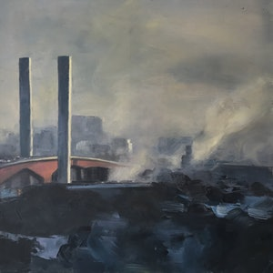 (CreativeWork) Fishermans Bend by Warren Lee. oil-painting. Shop online at Bluethumb.
