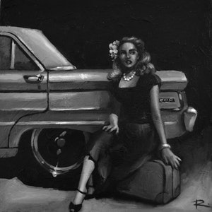 (CreativeWork) MOLLY feat. 1964 XM Falcon Deluxe by Rosa Fedele. oil-painting. Shop online at Bluethumb.