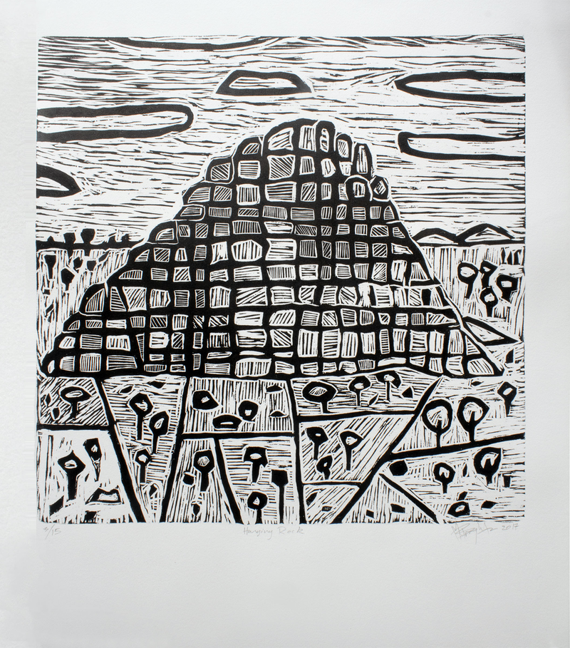 (CreativeWork) Hanging Rock - woodcut print Ed. 13 of 15 by Matthew Broughton. print. Shop online at Bluethumb.