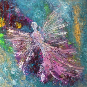 (CreativeWork) The Angel by Wild Fennel. oil-painting. Shop online at Bluethumb.
