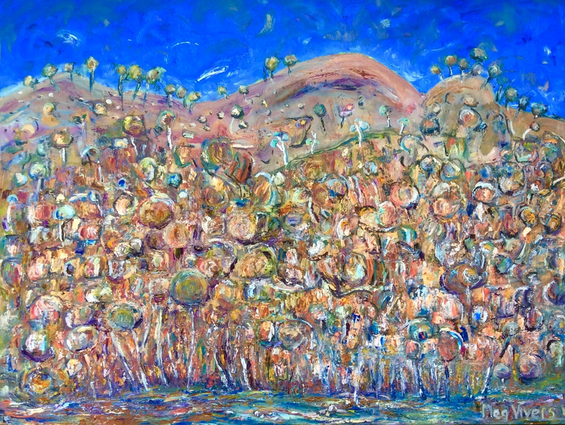 (CreativeWork) Colours of Arkaroola by Meg Vivers. oil-painting. Shop online at Bluethumb.