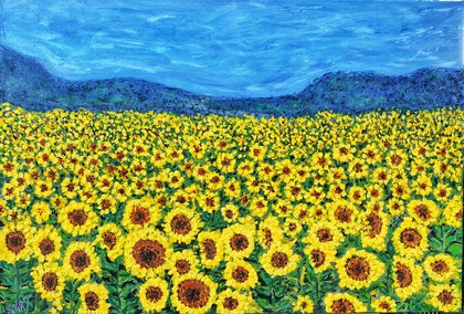 (CreativeWork) Sunflowers by Kimmy Thomas. arcylic-painting. Shop online at Bluethumb.