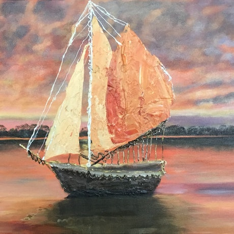 (CreativeWork) Sunset Sail by Terri Rustand. Acrylic Paint. Shop online at Bluethumb.
