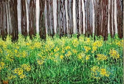 (CreativeWork) Woodland and Wildflowers by Kimmy Thomas. arcylic-painting. Shop online at Bluethumb.