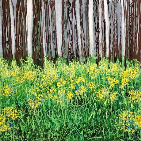 (CreativeWork) Woodland and Wildflowers by Kimmy Thomas. Acrylic. Shop online at Bluethumb.
