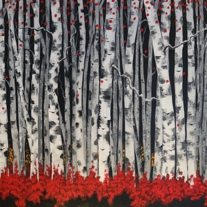 (CreativeWork) Dark Forest by Tom Roso. arcylic-painting. Shop online at Bluethumb.