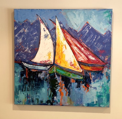 (CreativeWork) Winter Mooring by Kimmy Thomas. Acrylic Paint. Shop online at Bluethumb.