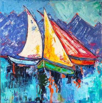 (CreativeWork) Winter Mooring by Kimmy Thomas. arcylic-painting. Shop online at Bluethumb.