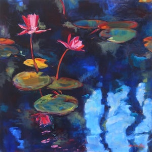 (CreativeWork) Lilies by Bronwen Hunt. oil-painting. Shop online at Bluethumb.