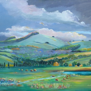 (CreativeWork) South Australian Scenery , near Yacka   by Virginia McGowan. oil-painting. Shop online at Bluethumb.