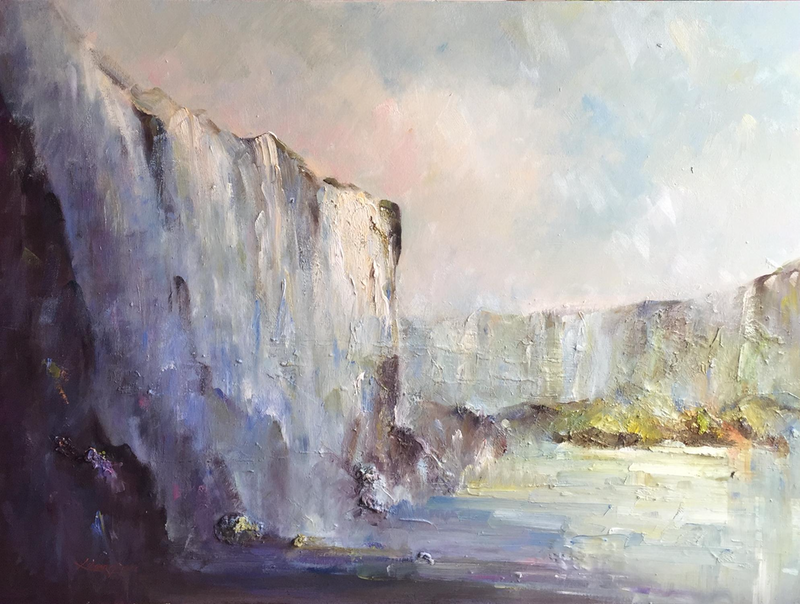 (CreativeWork) Iguassu falls  by Liliana Gigovic. oil-painting. Shop online at Bluethumb.