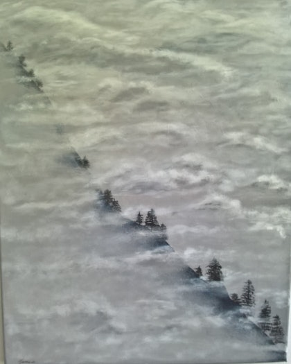 (CreativeWork) Misty Mountain by Cheryl James. arcylic-painting. Shop online at Bluethumb.