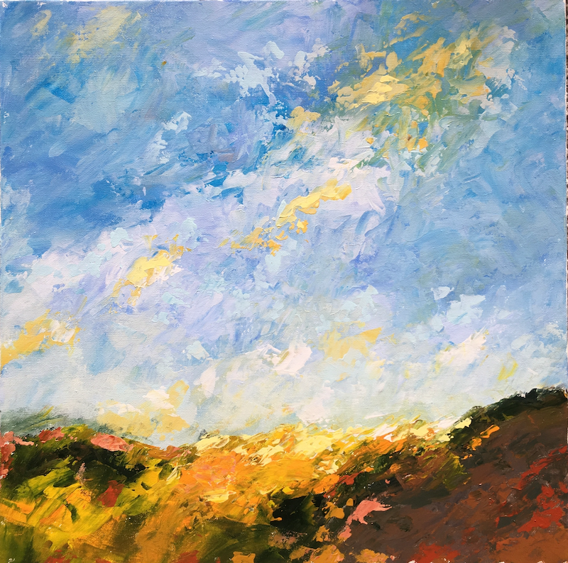 (CreativeWork) Fire in the Sky by Bernadette Malmsten. arcylic-painting. Shop online at Bluethumb.