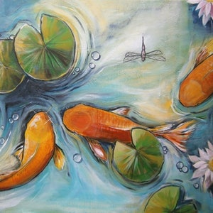 (CreativeWork) Three Koi  by Soma Mandal Datta. arcylic-painting. Shop online at Bluethumb.