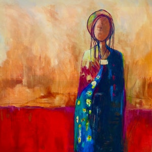 (CreativeWork) Waiting by Helen Sidoryn. arcylic-painting. Shop online at Bluethumb.