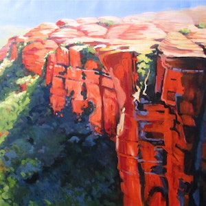 (CreativeWork) ON TOP OF KINGS CANYON by Marijke Greenway. arcylic-painting. Shop online at Bluethumb.