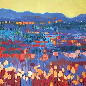 (CreativeWork) SPINIFEX ON BLUE by Marijke Greenway. acrylic-painting. Shop online at Bluethumb.