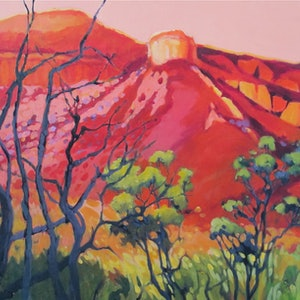 (CreativeWork) SUNSET AT HOME VALLEY STATION by Marijke Greenway. arcylic-painting. Shop online at Bluethumb.