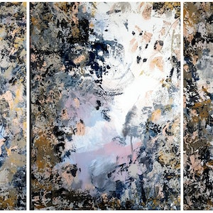"(CreativeWork) ""Somewhere In Between"" extra large Triptych with metallic features by Emily Lauro. arcylic-painting. Shop online at Bluethumb."