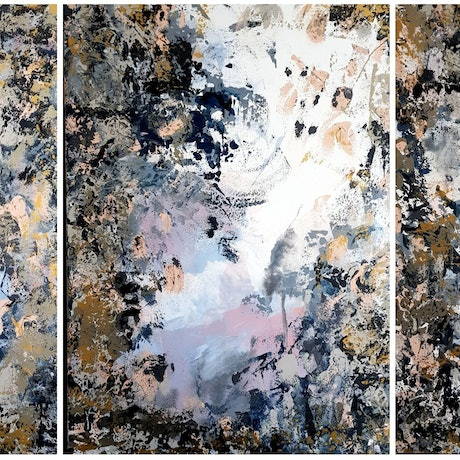 "(CreativeWork) ""Somewhere In Between"" extra large Triptych with metallic features by Emily Lauro. Acrylic Paint. Shop online at Bluethumb."