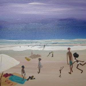 (CreativeWork) Sunday Funky Beach by Lynne ( Dorothy Lynne) Pickering. arcylic-painting. Shop online at Bluethumb.