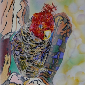 """(CreativeWork) """"Party boy"""" Gang- gang Cockatoo by Susan Willemse. arcylic-painting. Shop online at Bluethumb."""