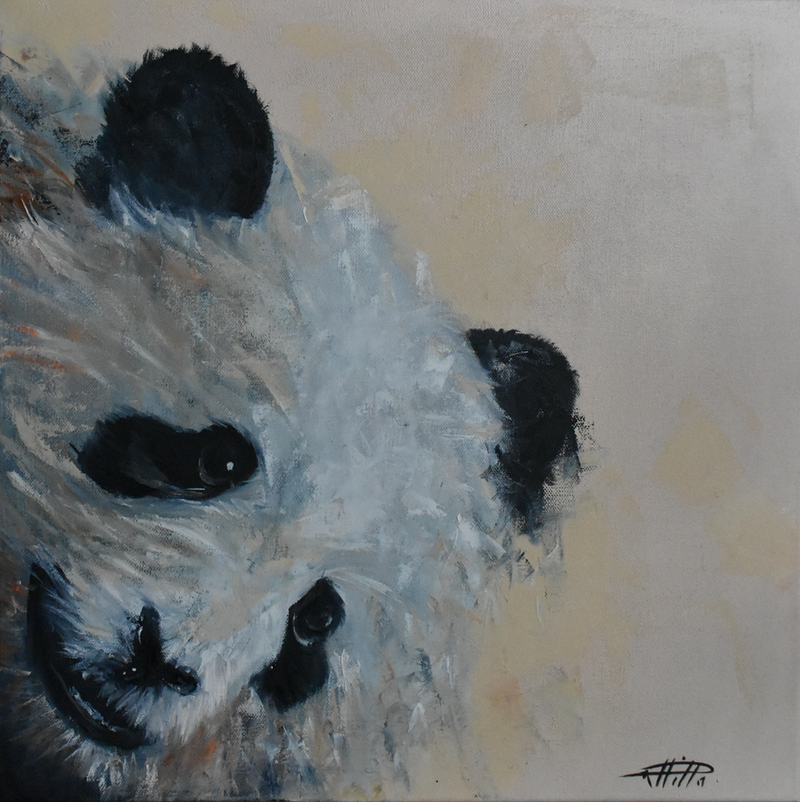 (CreativeWork) Panda - Lucy by Rebecca Hill. oil-painting. Shop online at Bluethumb.