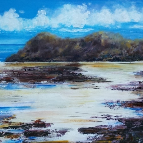 (CreativeWork) Clear Day at the Beach  by Angela Gannicott. Acrylic Paint. Shop online at Bluethumb.