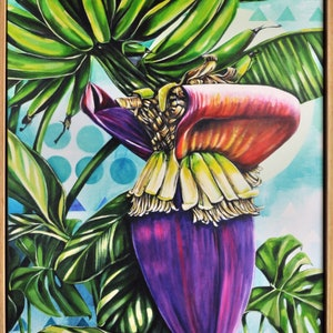 (CreativeWork) Banana Belle  by Tamara Armstrong. arcylic-painting. Shop online at Bluethumb.