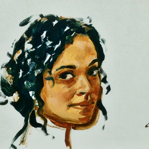 (CreativeWork) girl turning, blue hair by gord anderson. oil-painting. Shop online at Bluethumb.