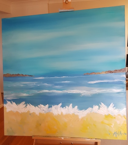 "(CreativeWork) ""La playa azul "" blue beach  by Ana Corral-Kelly. arcylic-painting. Shop online at Bluethumb."