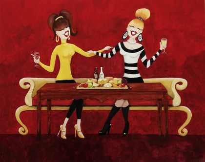 (CreativeWork) Wine and Cheese night by Andrea Berry. arcylic-painting. Shop online at Bluethumb.