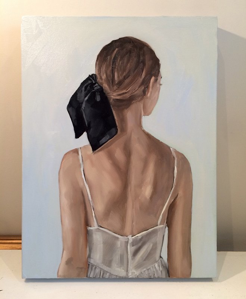 (CreativeWork) Black ribbon  by Holly Harper. oil-painting. Shop online at Bluethumb.