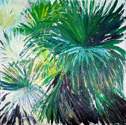 (CreativeWork) Summer Shade by Donna Gibb. oil-painting. Shop online at Bluethumb.