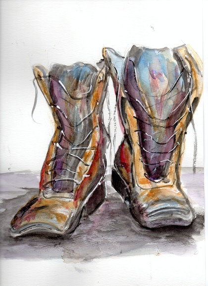 (CreativeWork) Boots by Robert Vallance. watercolour. Shop online at Bluethumb.