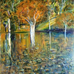 (CreativeWork) Evening at Chaffey Dam, NSW by Meg Vivers. oil-painting. Shop online at Bluethumb.