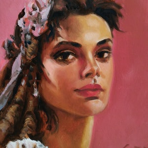 (CreativeWork) lipstick pink by gord anderson. oil-painting. Shop online at Bluethumb.