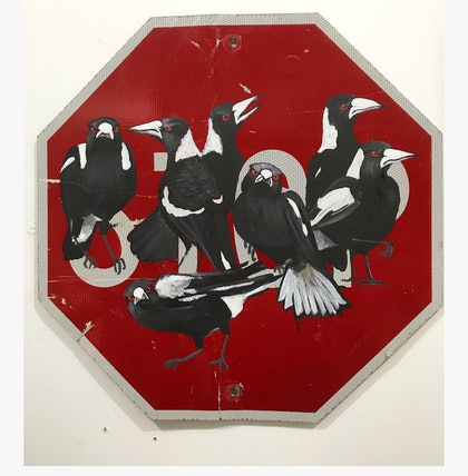 """(CreativeWork) """"No Stopping"""" by Karen Farmer. arcylic-painting. Shop online at Bluethumb."""